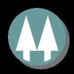 Twin pines logo green