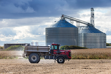 grain silo with tractor
