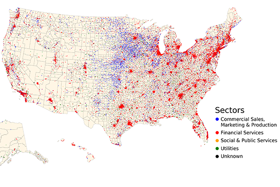 Map of us showing all cooperatives by sector