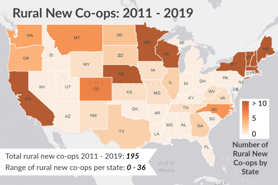 distrubution of new cooperatives by state in the United States from 2011-2019